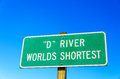 Sign for world s shortest river in lincoln city oregon the d the Stock Photo