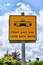 Sign yellow for tram in dublin ireland luas Royalty Free Stock Images