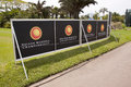 Signage on walkway at mount edgecombe golf club durban south africa december signboards along the nelson mandela championship Stock Photos