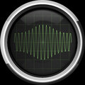 Signal with amplitude modulation on the oscilloscope screen in g sinusoidal am green tones background Stock Images