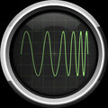Signal with frequency modulation fm on the oscilloscope screen in green tones background Royalty Free Stock Photography