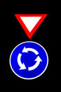 Roundabout Warning Sign