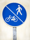 Signal pedestrian and bicycle lane Royalty Free Stock Photo