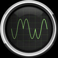 Signal with phase modulation pm on the oscilloscope screen in green tones background Royalty Free Stock Photo