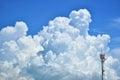 Signal pole amid cloudy skies Royalty Free Stock Photos