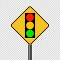 Symbol signal traffic light green yellow red sign on transparent background