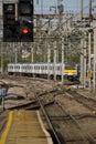 Signals at a railway station Royalty Free Stock Photo