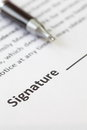 Signature space close up at from contract paper Stock Images