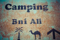 Signboard camping fake in the desert of morocco Stock Photography