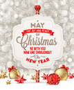 Signboard with christmas greeting holiday and decoration on a snow Stock Image