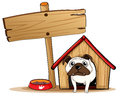 A signboard beside a doghouse with a dog illustration of Royalty Free Stock Image