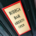Signboard on the door of bar spain Royalty Free Stock Image