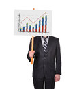 Signboard with graph of profits businessman in suit holding Royalty Free Stock Images