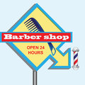 Signboard hairdresser barbershop sign with an arrow indicating the direction vector illustration Royalty Free Stock Photography