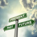Signboard past present and future a sign board show the important of time Royalty Free Stock Images