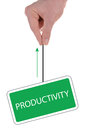 Signboard productivity hanging by a thread Stock Image