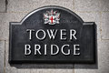 Signboard of the Tower Bridge in London, England Stock Image