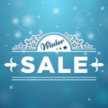 Signboard winter sale tree stars on snowflake and blue background Royalty Free Stock Photos