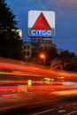 Signe de Citgo, une borne limite de Boston Photo stock