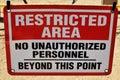 Signe de zone restreinte Photographie stock