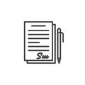 Signed contract, document line icon, outline vector sign, linear pictogram isolated on white. Royalty Free Stock Photo