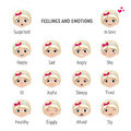 Signed feelings and emotions. Girl with different expressions on her face. Set of vector illustrations. Royalty Free Stock Photo