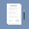 Signed paper deal contract icon. Agreement and pen isolated on the blue background. Royalty Free Stock Photo