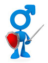 Signman like knight cartoon man mars symbol head holding medieval sword shield Stock Photography