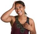Signora di risata Smacks Her Head Immagini Stock Libere da Diritti