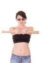 Signora graziosa con una mazza da baseball isolata su bianco Fotografia Stock Libera da Diritti