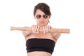 Signora graziosa con una mazza da baseball isolata su bianco Immagini Stock Libere da Diritti