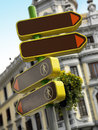 Signpost and antique building in madrid vertical format Royalty Free Stock Photos
