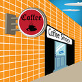 Signpost cup black coffee near coffee shop Royalty Free Stock Image