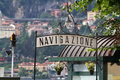 Signpost for a landing stage at lake Como, Italy Stock Photo