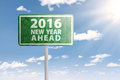 Signpost for 2016 new year ahead Royalty Free Stock Photo