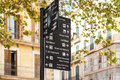 Signpost palma famous sights in the centre of showing directions to s Royalty Free Stock Images