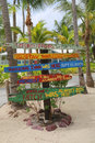 Signpost at Rum Point indicating major Hurricanes effecting Caribbeans and Cayman Islands