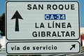 Signpost to gibraltar from spain tarifa in Stock Images