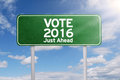 Signpost with vote 2016 just ahead Royalty Free Stock Photo