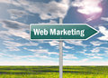 Signpost web marketing with wording Royalty Free Stock Images