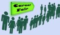 Signs advertising career fair people waiting line to sign up Royalty Free Stock Photos