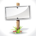 Signs board hanging with wood pole on a grass and mushrooms illustration Royalty Free Stock Photo