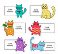 Signs with cartoon kittens colorful cute on a white background Stock Photo