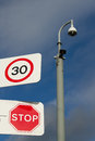 Signs and cctv. Royalty Free Stock Image