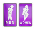 Signs female and male bathroom on white background.