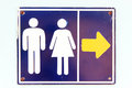 A signs go to  toilet. Royalty Free Stock Photo