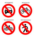 Signs No parking, bicycles, swimming, trespassing Royalty Free Stock Photos