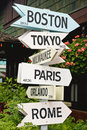 Signs pointing toward cities Royalty Free Stock Photo