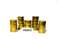 Signs profit front golden coin piles Stock Images