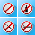 Signs that prohibit bad habits Royalty Free Stock Photo